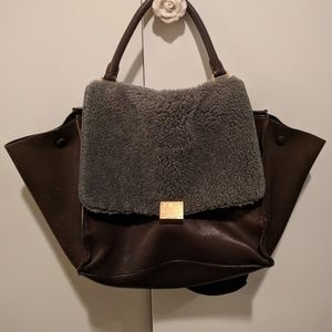 Authentic Celine Trapeze Brown Teal Sherpa Bag